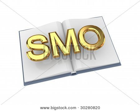 Opened book with golden word SMO.