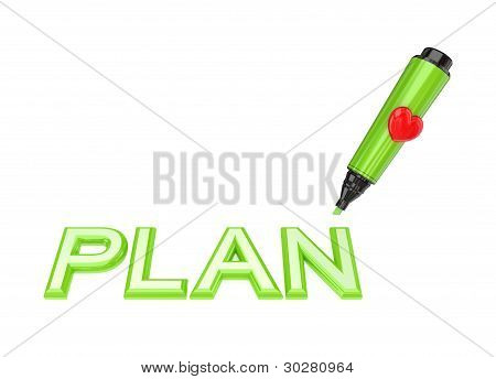 Green marker pen and word PLAN.
