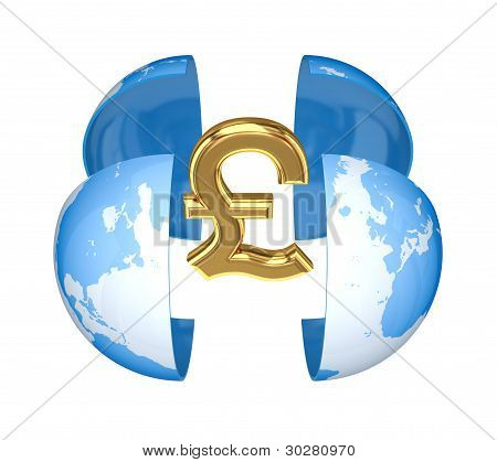 Earth and golden pound sterling sign.