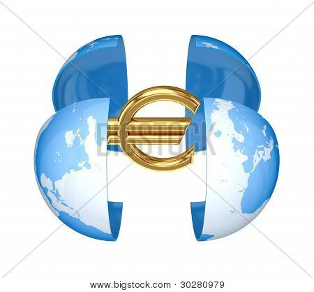 Earth and golden euro sign.