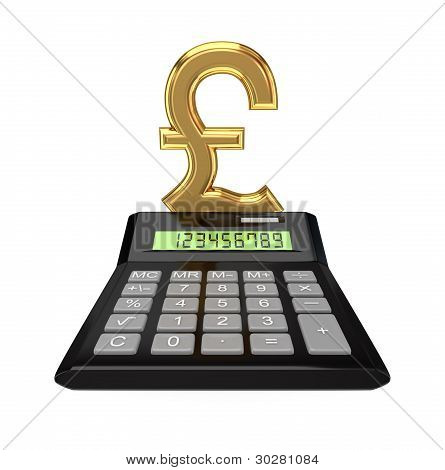 Calculator and pound sterling sign.