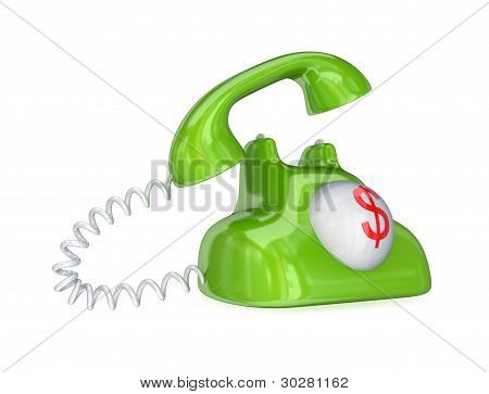 Green vintage telephone with red dollar sign.