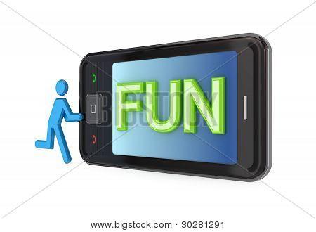 Modern mobile phone with big word FUN.