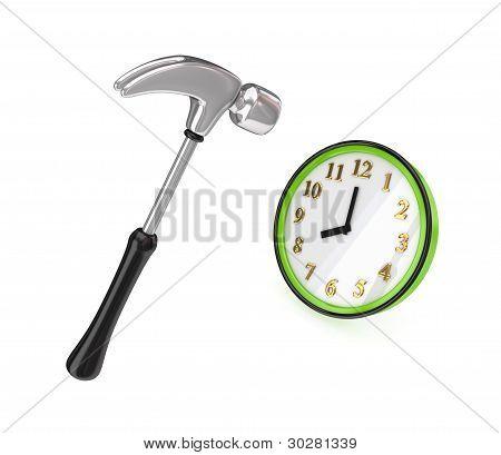 Big chromed hammer hitting a green watch.