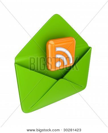 Green envelope and RSS symbol.