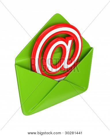 Green envelope and red email sign.
