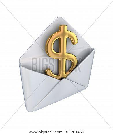 Golden dollar sign in a white envelope.