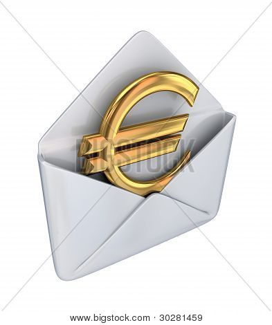 Golden euro sign in a white envelope.