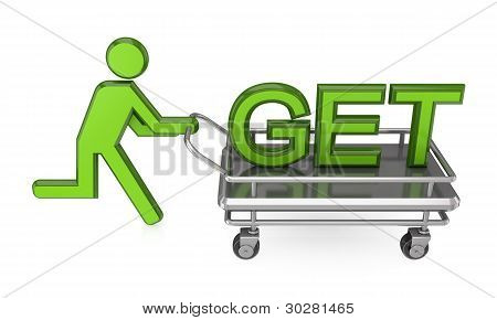 3d small person with a pushcart and big word GET.