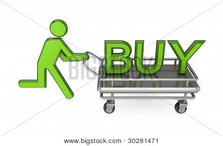3d small person with a pushcart and big word BUY.