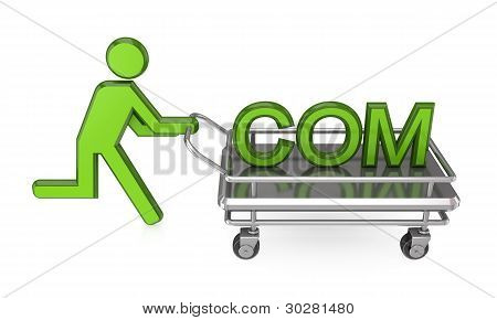 3d small person with a pushcart and big word COM.