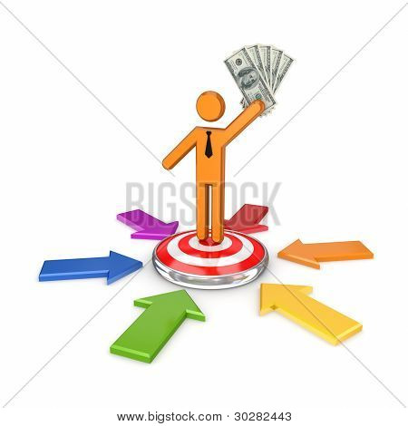 3d small person standing on a dartboard.