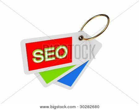 Colorful tags and word SEO.