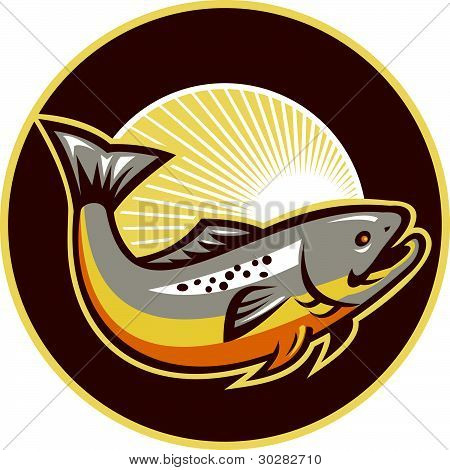Trout Fish Jumping Sunburst Circle