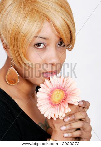 African American Woman And Flower