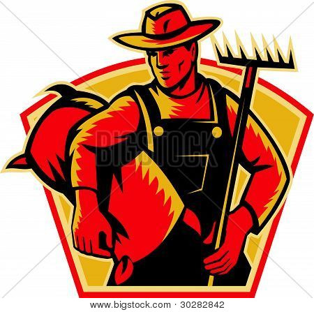 Farmer Agricultural Worker With Rake and Sack