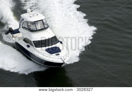 Blue And White Speedboat