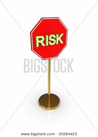 Stylized road sign with a signature RISK.