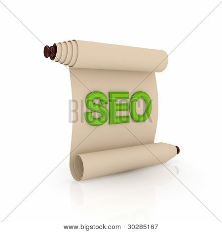 Ancient scroll with a green word SEO.