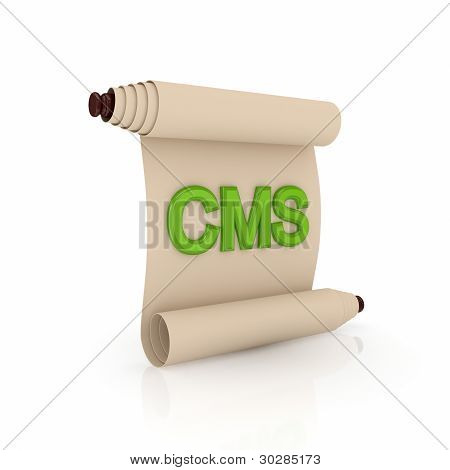 Ancient scroll with a green word CMS.