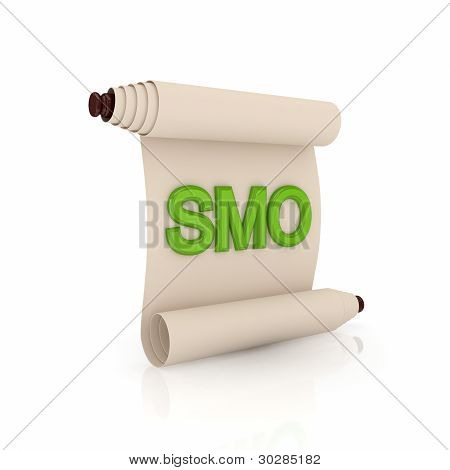 Ancient scroll with a green word SMO.