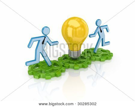 3d small people running on a gears to yellow bulb.