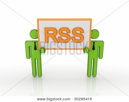 3d small people with a word RSS.