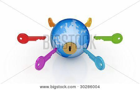 Colorful keys around the globe.