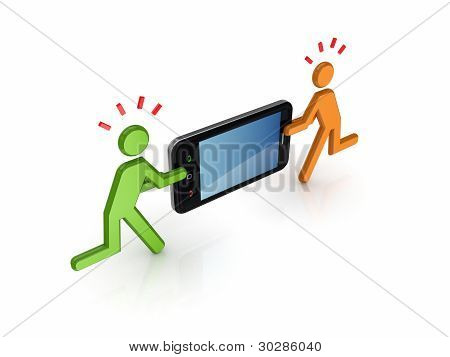 3d small people with modern mobile phone.