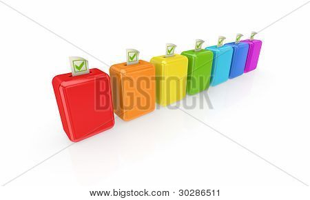 Colorful ballot boxes.