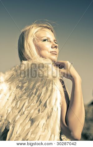 Golden Angel Looking To The Heavens