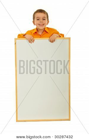 Happy Kid With Blank Placard
