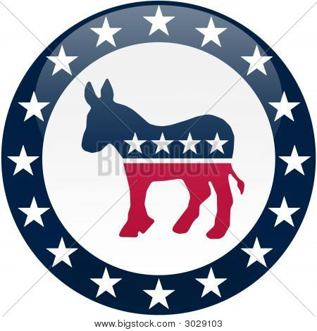 Demokrat Button - weiß und blau