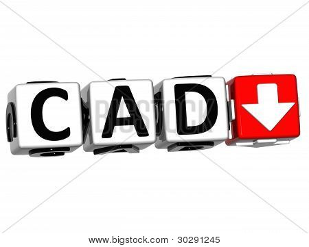 Currency Cad Rate Concept Symbol Button On White Background
