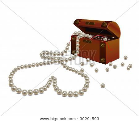Broken pearl necklace and a chest