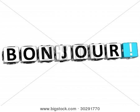 3D Bonjour Block Text On White Background