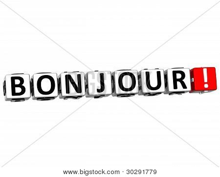 3D Bonjour Block Text On White Background