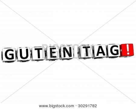 3D Guten Tag Block Text On White Background