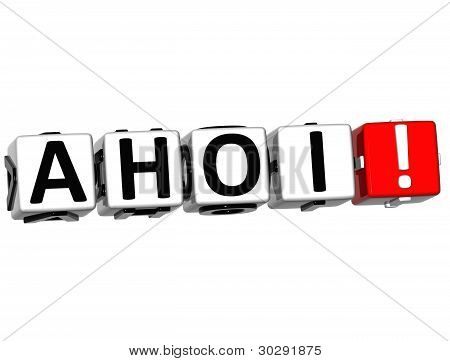 3D Ahoi Block Text On White Background