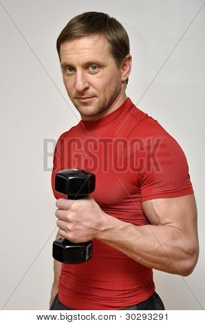 Handsome Men With Dumbells
