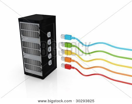 Server and colorful patch cords.
