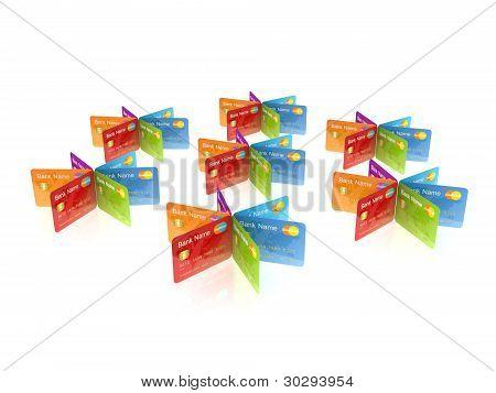 Coloridas tarjetas de crédito.