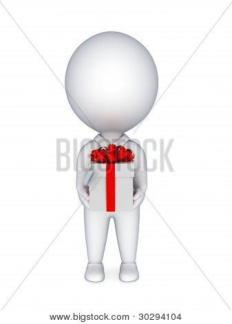 3D persona pequeña con una caja de regalo en una mano.