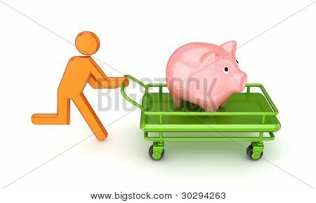 3d small person and piggy bank on a pushcart.