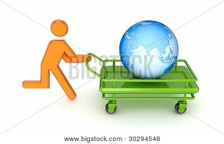 Running 3d small person and globe on a pushcart.