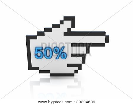 Large cursor with a word 50%.