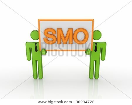3d small people with a word SMO.