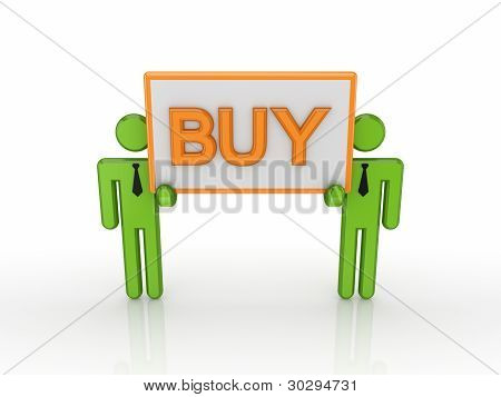 3d small people with a word BUY.
