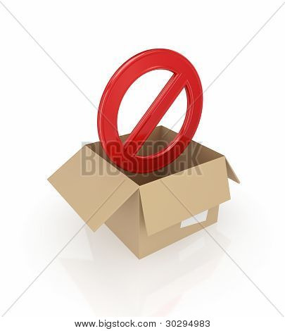 Red stop symbol in carton box.