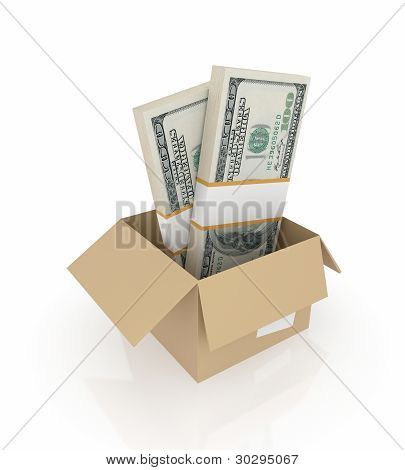 Dollar packs in a carton box.